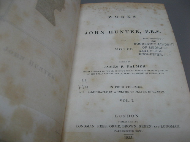 The Works of John Hunter F. R. S. with Notes. Complete in 5 Volumes (4 Vols. + Plates (Atlas) Volume). JOHN HUNTER F. R. S., PALMER JAMES F.