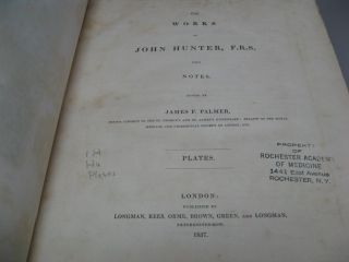 The Works of John Hunter F. R. S. with Notes. Complete in 5 Volumes (4 Vols. + Plates (Atlas) Volume)