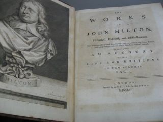 The Works of John Milton, Historical, Political, and Miscellaneous. In Two Volumes.