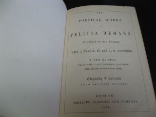 The Poetical Works of Felicia Hemans Complete in One Volume with a Memoir by Mrs. L. H. Sigourney